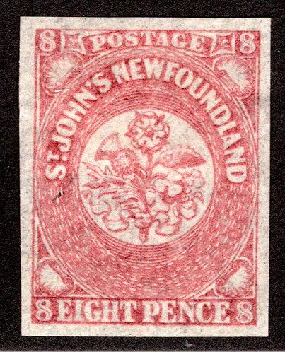 24, NSSC, Newfoundland, 8d, 8 pence, rose lake,MHOG, VF, PostageStamp