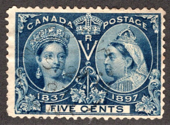 54, Scott, Canada, 5c blue, Diamond Jubilee issue, Used, F, Canada Postage Stamp