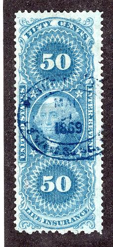 R58c, 50c Life Insurance, blue, used, blue 1869 handstamp