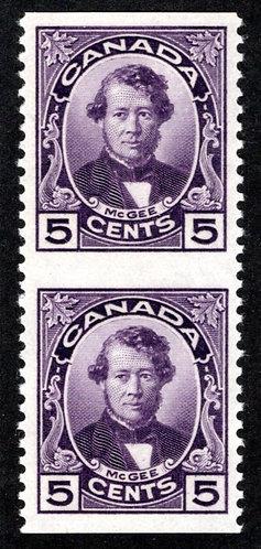 146c, Scott, Canada, 5c,horiz. pair, imperf between, MLHOG