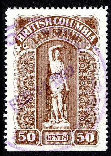 van Dam BCL30, VF,/XF ,50c, Sixth Series, 1928-32, British Columbia Law Stamp