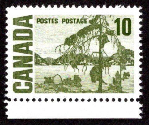 462iii, Scott,10c, HB, spotty white gum, Jack Pine, MNHOG, Canada PostageStamp