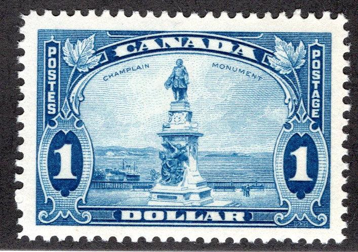 Scott 227, $1 blue, VF/XF, MNHOG, Champlain's Statue, Canada Postage Stamp