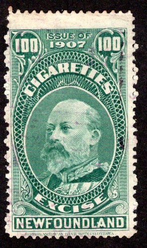 NSSC TB8a, 100 Cigarettes, Issue of 1907, p.12, green, Newfoundland, Canada