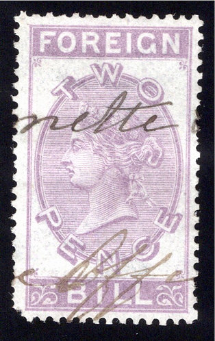 Great Britain GB QV Foreign Bill lilac shorter type 2d used