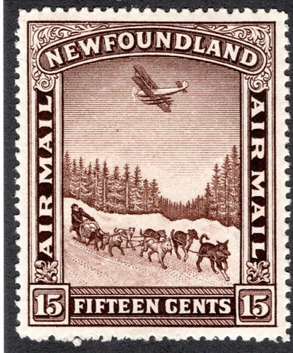 AM7, Newfoundland, 15c, Air Mail, XF/SUP, MLHOG, Dog Sled and Airplane, Pictor