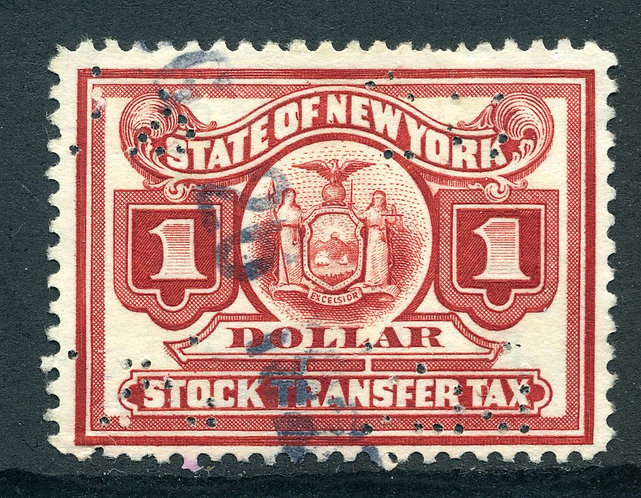 "SRS NY ST110 - $1 red (shades) - flaw in ""O"" of ""OF"" - CDS Cancel"