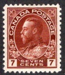 "114b Scott, Canada, 7c MLHOG, VF/XF, wet printing, 1924 KGV ""Admiral"" Issue"