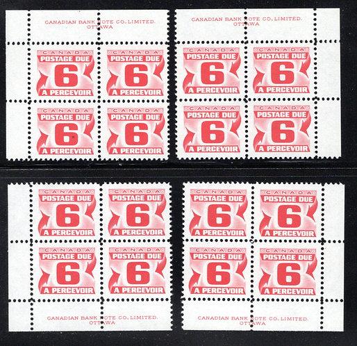 Scott J33i, 6c, 3rd issue Centennial Postage Dues, LF, PVA, Matched PB Set, MNH