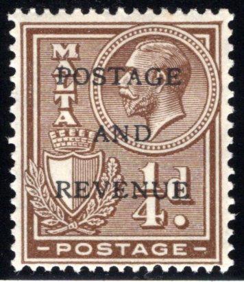 "148 Malta, MLHOG, 1928, Stamp of 1926-1927 Overprinted ""POSTAGE AND REVENUE"""