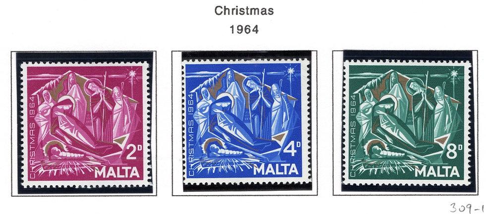 309-311 Malta, MNHOG, Christmas, 1964