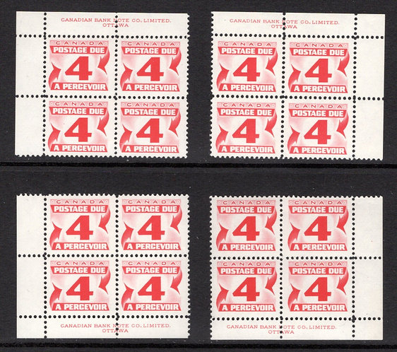 J24, Scott, 4c, VF, matched plate block of 4, 1st Centennial issue, MNHOG, Canad