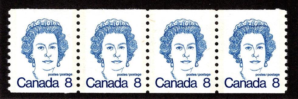 604 Scott - 8c, HB, VF, MNHOG, coil, strip of 4, CaricatureDefinitive 1973-76,