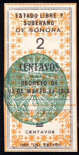 SO 30C / S22, Mexico, State Issues, Sonora, 1913-1914 with hand seal in green,