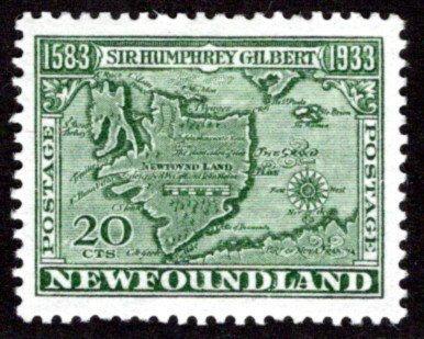 206, NSSC, Newfoundland, 20c, F/VF, MLHOG,Gilbert, p.13.5, w/m pos 5, Scott 223