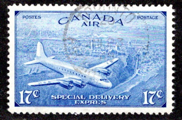 CE4, 17c, Special Delivery Air Mail, Revised Issue, Used, XF-SUPERB, Canada