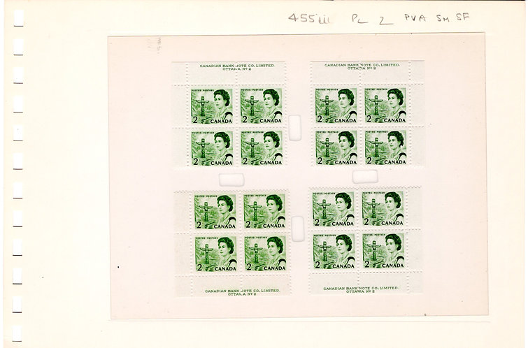 455iii Scott, 2c, Centennial Definitive, Matched Plate Blocks, PB2, LF/PVA