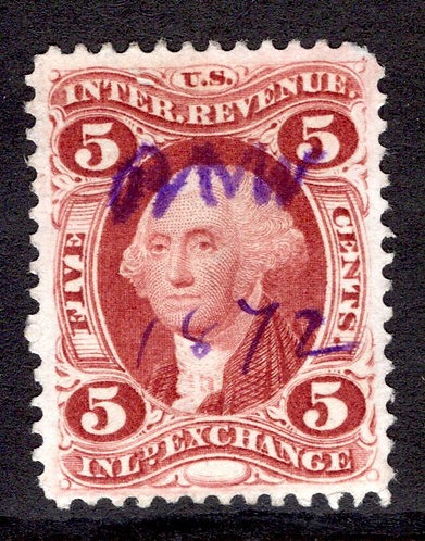 R27c - 5c - Inland Exchange- perf - used - XF - Beautiful, deep, rich color