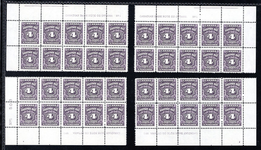 J17, Scott, 4c, VF, matched plate block set, P1, 4th issue, MNHOG, Canada Postag