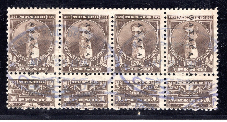 R 555, MEXICO, 1926, 1P, Strip of 4, Used, with talons, Internal Revenue