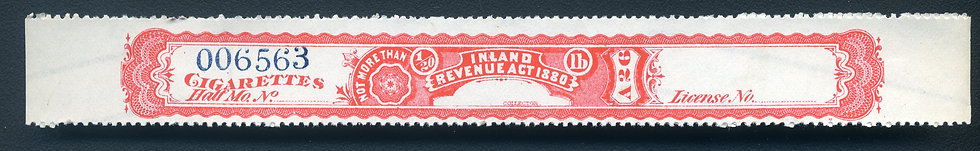 """Ryan RC31 - 1881 Cigarette Stamp - Not More Than 1/20th pound - """"Red Warehouse"""