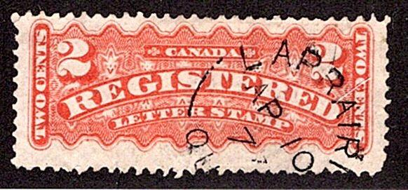 F1, 2c, Registration, Canada, p12 , orange, Used, Laprairie, Que split-ring Canc