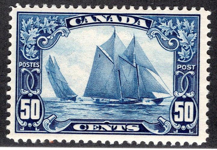 Scott 158, 50c dark blue, Bluenose, MLHOG, F/VF