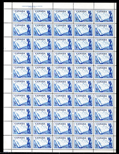 370, Scott, 5c, Canada, Thompson and Map,Plate 1, Sheet of 50, VF, Postage Stam