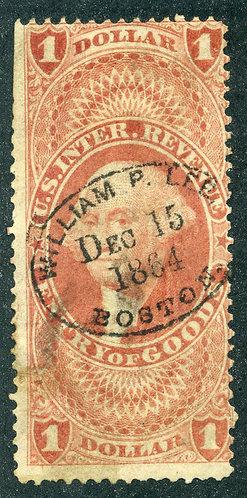 """R67c - $1 - Entry of Goods - perf- handstamped """"WILLIAM P. LEE, Dec 15, 1864, B"""