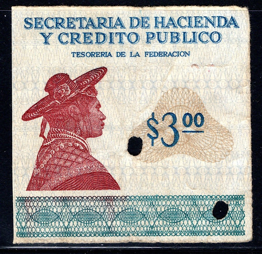 "Mexico, EN 8 ""D"", UNLISTED VARIETY, Not included in ""Mexico's Revenue Stamps"""