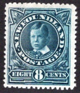 102a, NSSC, Newfoundland, 8¢ Royal Family, Prince George, F, MLHOG,Scott 110