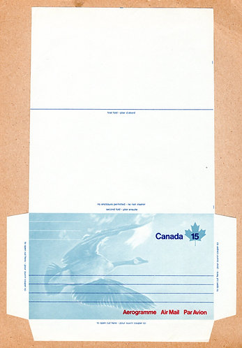 "A34 Canada, Aerogramme, 15c blue and red, ""Goose on Front"", Unused, Unfolded, 19"