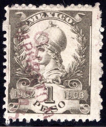 R 219D, MEXICO, 1902-1903, 1P, Warrior Goddess, IMPUESTO MINERO, no talon