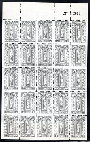 van Dam BCL37a, Complete Sheet of 25, 10c gray - British Columbia Law Stampsw