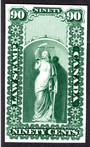OL10, QL9, van Dam 90c, green, Plate Proof, no overprint, Canada Law Stamp