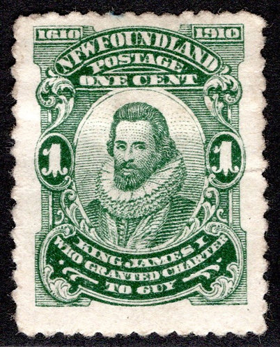 "78o, NSSC, p12x11, Newfoundland ""NFW"" Variety, 1c deep green, King James I, MHN"