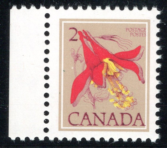 "707T1, 2c Columbine, ""untagged, error"", with Bileski Note, Canada Postage Stamp"