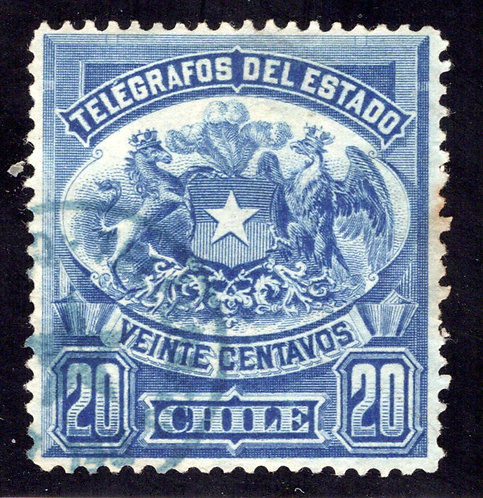 Chile, Telegraph, 20c, 1883, p.12, Type 1, H3, used