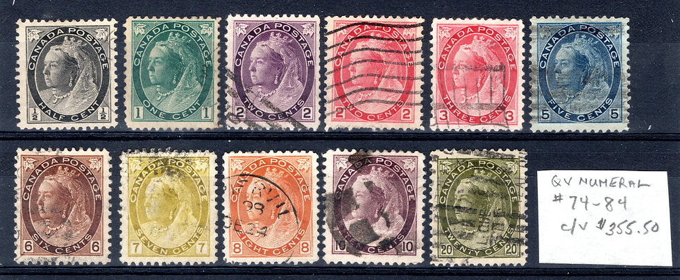 74-84, Scott, Used Set, C/V $355++ A few are XF/SUPERB, QV Numera