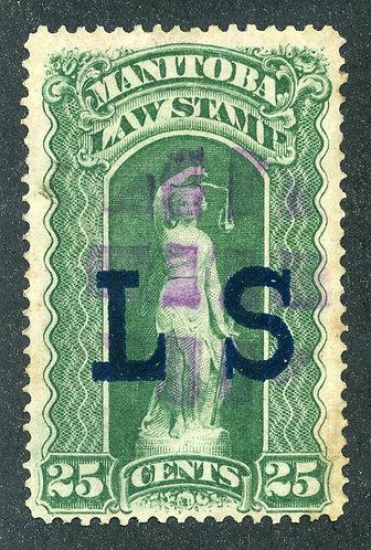 """van Dam ML3 - Manitoba Law - 25¢ Used - Blue """"LS"""" Law Society o/p - Fancy Cancel"""