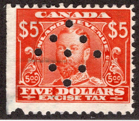 van Dam FX18, $5 George V Excise Tax, Used, 9-hole punch cancel,