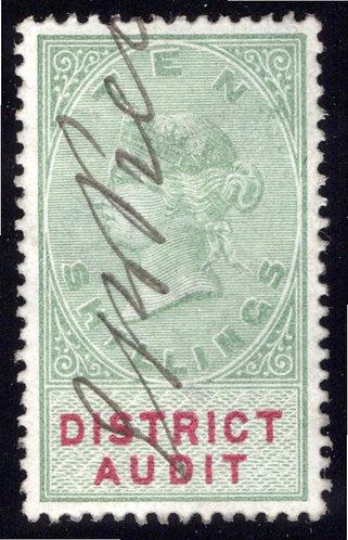 Great Britain GB QV Revenue : District Audit 10/- (1882)