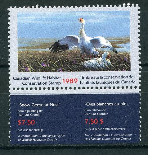 van Dam FWH5 - $7.50 1989 Snow Geese - MNHOG -(booklet pane only)
