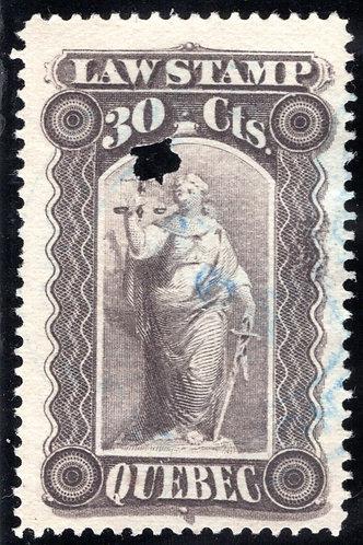 van Dam QL34 - 30c gray violet - Used - Quebec Law Revenue Stamp 1893-1906
