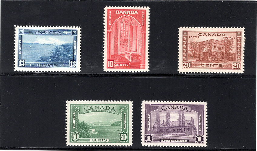 Scott 241-245, 1938 Pictorial Issue, Mint, Complete Set, MNHOG, SUPERB