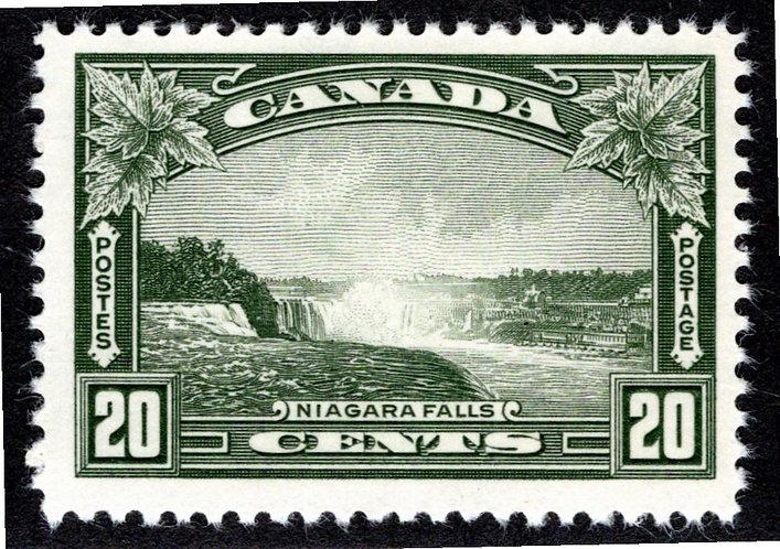 Scott 225, 20c olive green, VF+, MNHOG, Niagara Falls, 1935, Canada Postage Stam