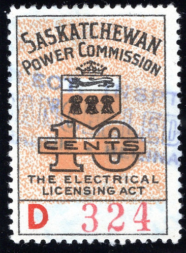 van Dam SE15, 10c, Orange, 1944-47,Saskatchewan Power Commission, CARIS: SKEL 1