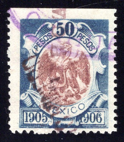 R 258B, MEXICO, 1905-1906, 50P, Coat of Arms,Internal Revenue Stamp