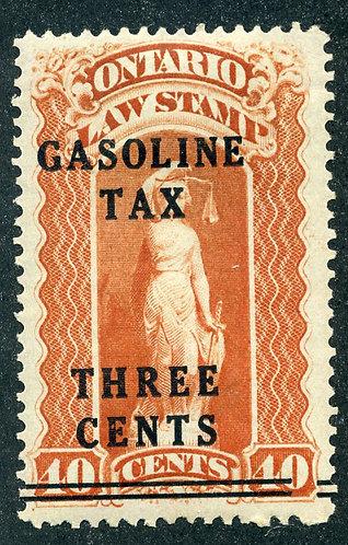 van Dam OGT2 - Ontario Gasoline Tax - 3¢ on 40¢ Red - MHOG - Perf 12 x 11.5