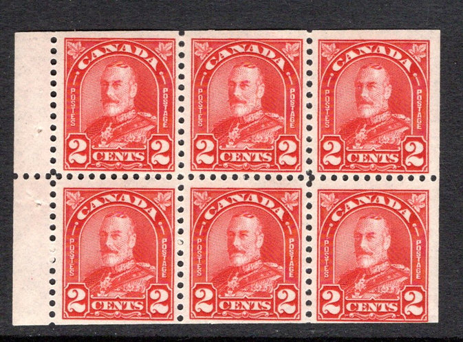 """165b, Scott, 2c deep red, """"Arch"""" issue, booklet pane of 6x 12 (Bkl 16),F, MNH,"""